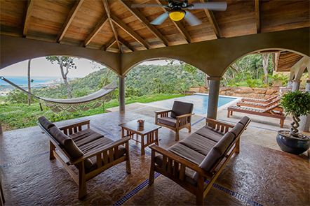 Casa Buenavida Outdoor Living Room at Finca Las Nubes