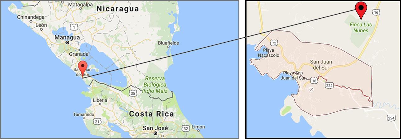 Rental Properties in San Juan Del Sur, Nicaragua on a map
