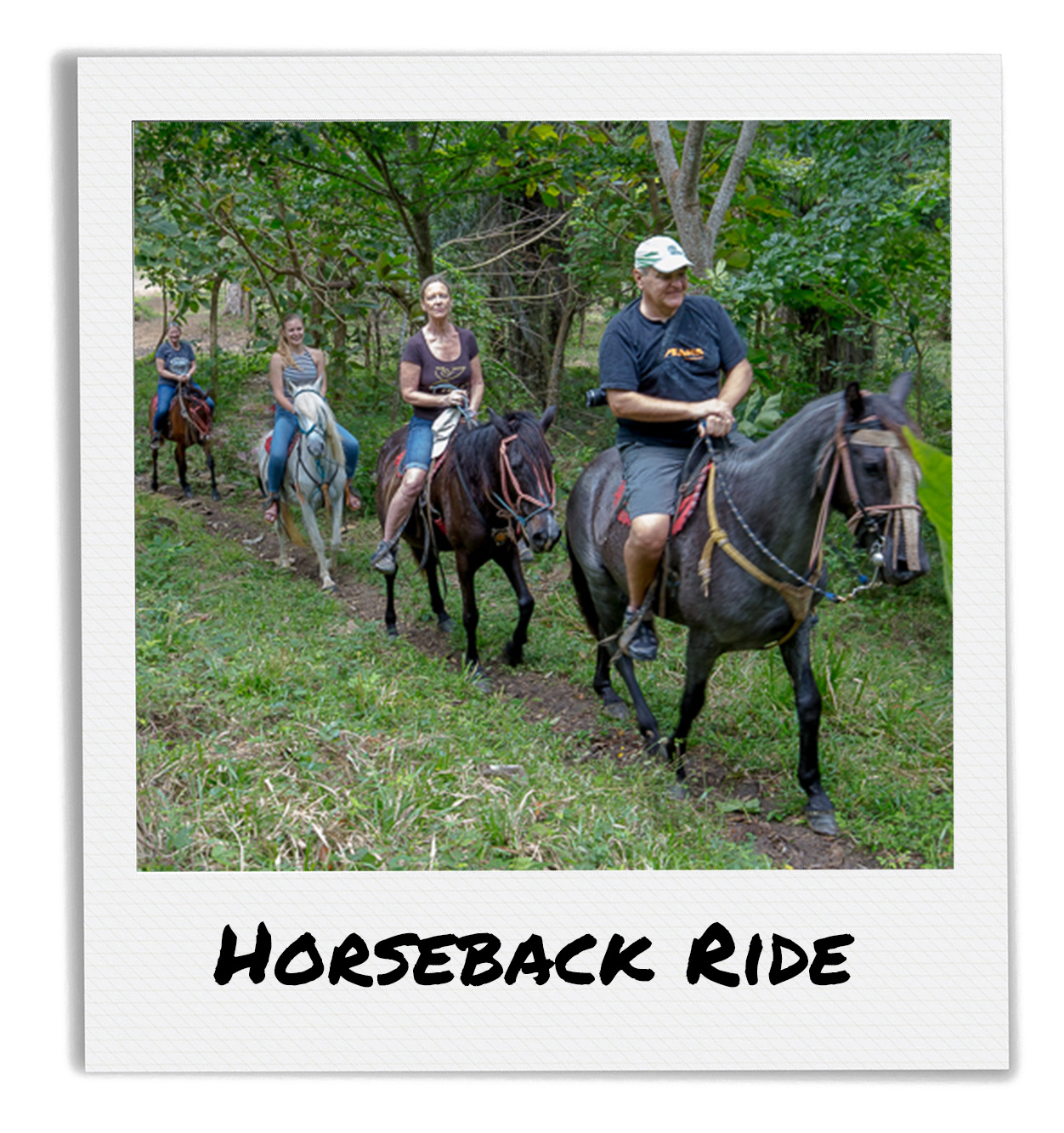 Family horseback riding in the forest at Finca Las Nubes